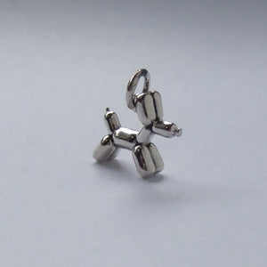 Balloon twisted dog charm sterling silver