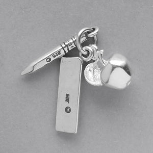 Apple Pencil and Ruler Charm Sterling Silver School Pendant