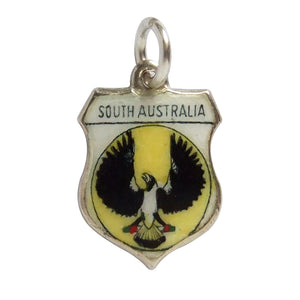 Vintage South Australia Shield Charm Sterling Silver Enamel