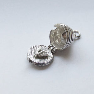 Vintage silver bee in beehive charm opens