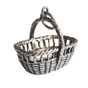 Vintage sterling silver basket charm by REU