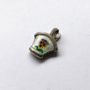 Vintage Pansy Flower Basket Charm European Silver