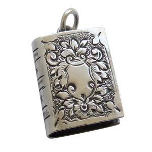 Antique Book Charm Silver Victorian Pendant