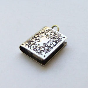Antique Book Charm Silver Victorian with Birmingham hallmarks