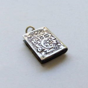 Victorian Book Pendant Silver Victorian Engraved Charm