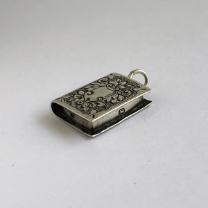 Ornate Antique Book Charm Birmingham Silver Victorian Pendant