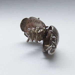 Vintage Beetle Charm Silver Beatles Opens to Band Members