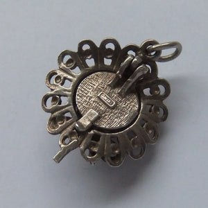 Vintage Bonnet Charm Silver Chim Opens to B Bee