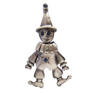 Vintage articulated sterling silver clown