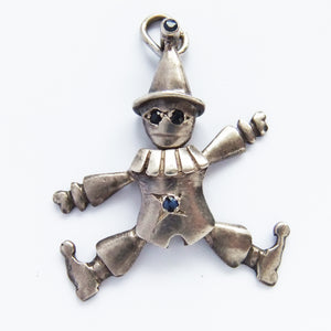 Sterling silver vintage moving clown charm with gemstone eyes