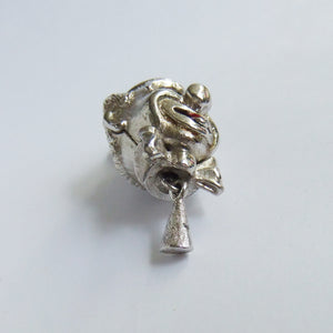Monet Clown Head Charm Vintage Silver Tone Blue Eyes Red Tongue