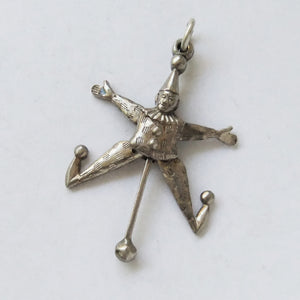 Antique moving jester charm silver