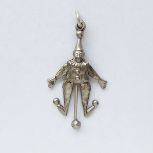 Antique articulated moving clown charm silver
