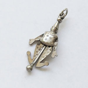 Antique articulated Victorian jester charm silver