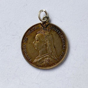 Antique Coin Enamel Queen Victoria Golden Jubilee 1887 Charmarama Charms