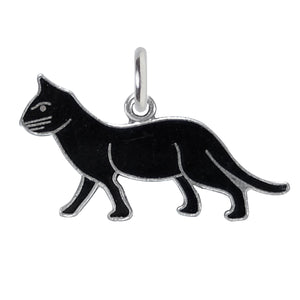 Vintage Wells Black Cat Charm Sterling Silver Enamel