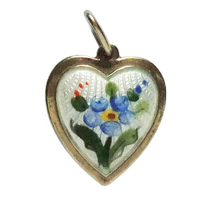 Vintage David Andersen blue forget me not heart charm