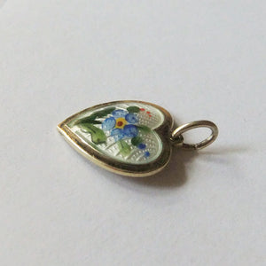 Vintage David Andersen blue forget-me-not flower heart charm