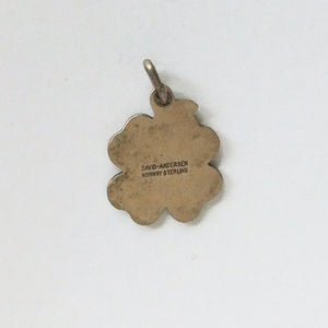 Norwegian David Andersen Green Enamel Four Leaf Clover Charm