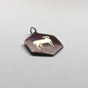 David Andersen Enamel Purple Aries Hexagonal Zodiac Charm