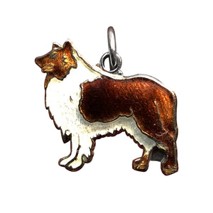 Vintage enamel sterling silver rough collie dog charm
