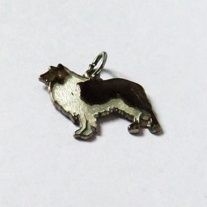 Vintage rough collie dog charm enamel sterling silver