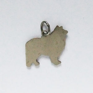 Vintage rough collie dog breed charm enamel sterling silver