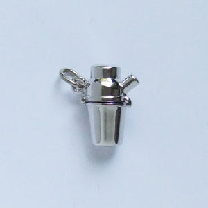 Sterling Silver Enamel Cocktail Shaker with Devil Charm