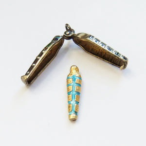 Rare Egyptian Mechanical Sarcophagus with Mummy Charm Enamel Silver