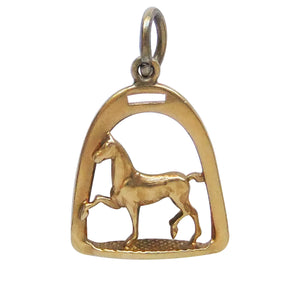 Horse and Stirrup Charm 14k yellow gold pendant