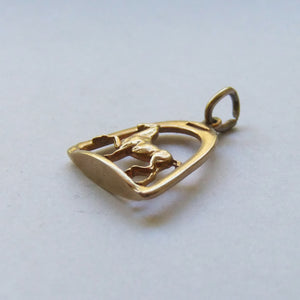 Horse and Stirrup Equestrian Charm 14ct yellow gold pendant