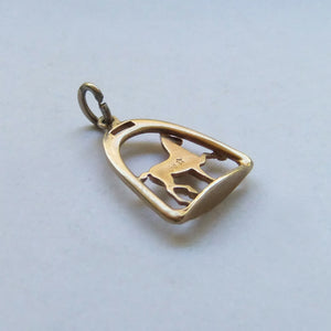 14ct Horse and Stirrup Charm yellow gold pendant