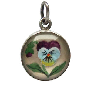 Antique Reverse Crystal Pansy Flower Charm Edwardian Essex