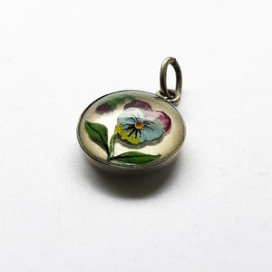 Antique Essex Crystal Pansy Flower Charm Edwardian Reverse