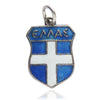 Greece Travel Shield Charm Silver Blue Enamel