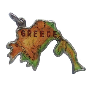 Vintage REU Greece Map Charm Sterling Silver Enamel