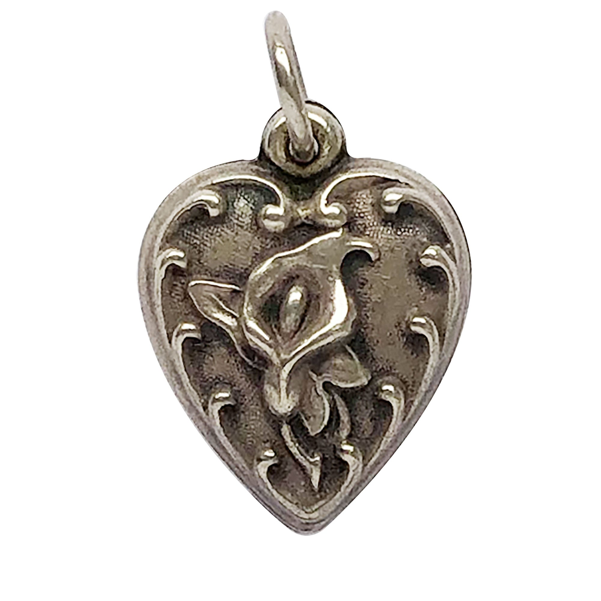 Puffy Black Heart with White Flowers 24mm Silver Traditional Charm or Pendant
