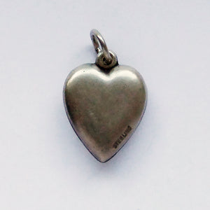 Vintage Calla Lily Puffed Heart Charm Sterling Silver