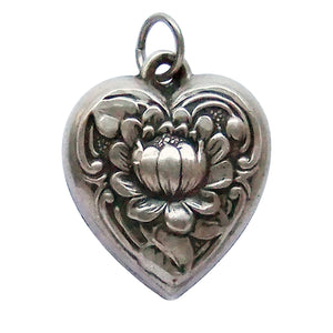 Vintage Water Lily Puffy Heart Charm Sterling Silver