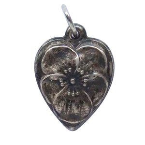 Vintage puffed heart charm with pansy flower design