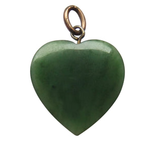 Art Deco Green Jade Heart Charm