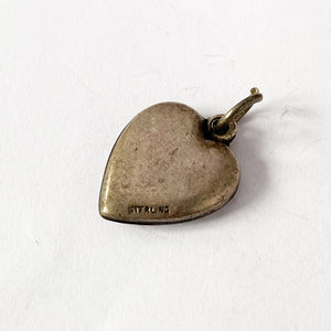 Heart Charm VINTAGE Green Leaf