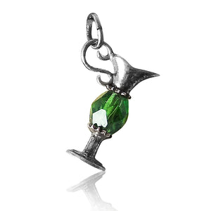 Vintage pitcher charm sterling silver with green crystal