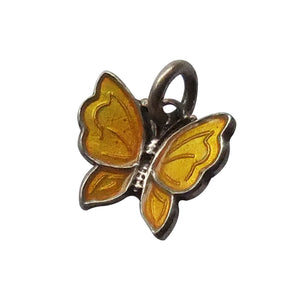 Butterfly Charm by Meka Denmark Sterling Silver Yellow Enamel