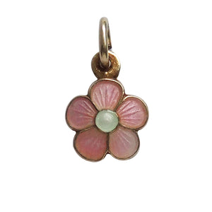 Pink Flower Charm Gilded Sterling Silver Opro Norway