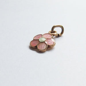 Pink Enamel Flower Charm Gilded Sterling Silver Opro Norway