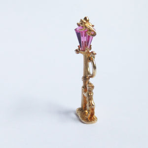 Nuvo 9ct Gold Pink Crystal Street Light Dog and Cat Charm
