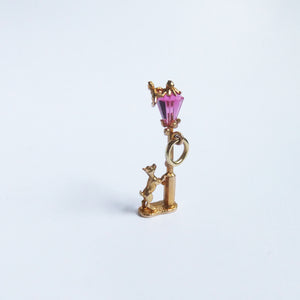 Nuvo 9ct Gold Crystal Street Light Dog and Cat Chase Charm