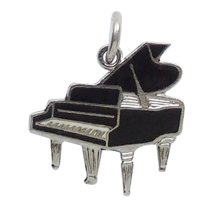 Vintage grand piano charm sterling silver enamel RL Griffith