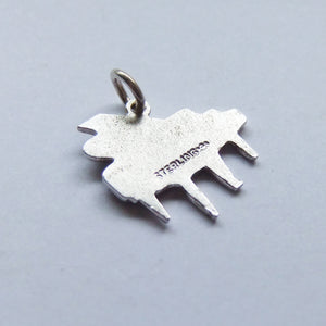 Grand piano charm sterling silver enamel Vintage Griffith